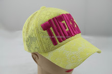 sports hat with yellow lace style for women headwear
