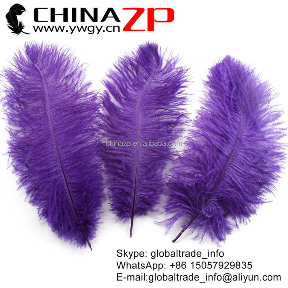 ZPDECOR Crafts Factory wholesale 25~30cm(10~12inch) dyed purple ostrich feather plume for weeding centerpiece decoration