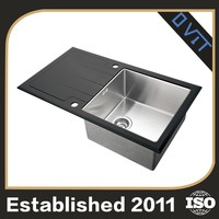 Oem Design Square Edge Single Bowl Stainless Steel Sink Glass Cabinet With Drainboard