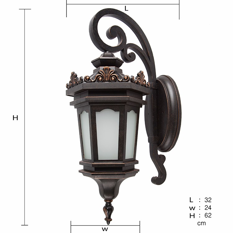 New hexagonal design IP44 aluminum vintage exterior boundary wall light