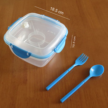 2016 Plastic Double Layer Sandwich Containers for Lunch Box with Cutlery