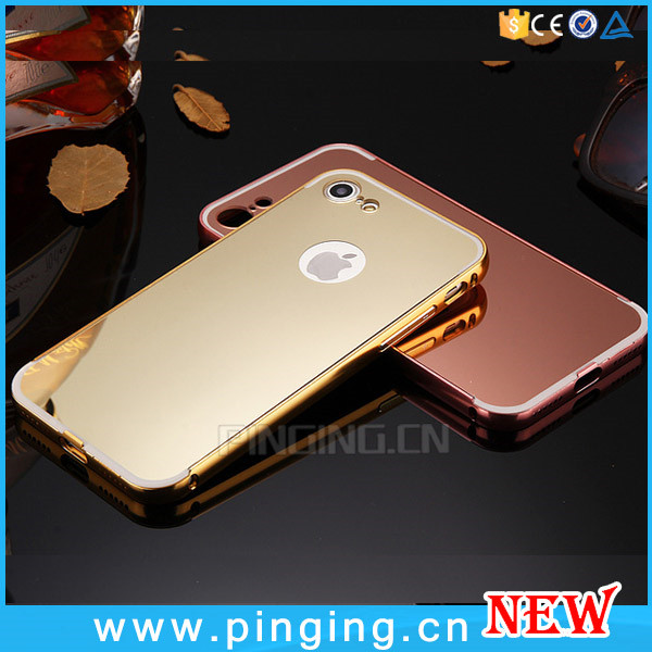 Luxury electroplating for iphone 7 mirror phone case aluminum metal bumper with pc back cover for apple iphone 7 7 plus