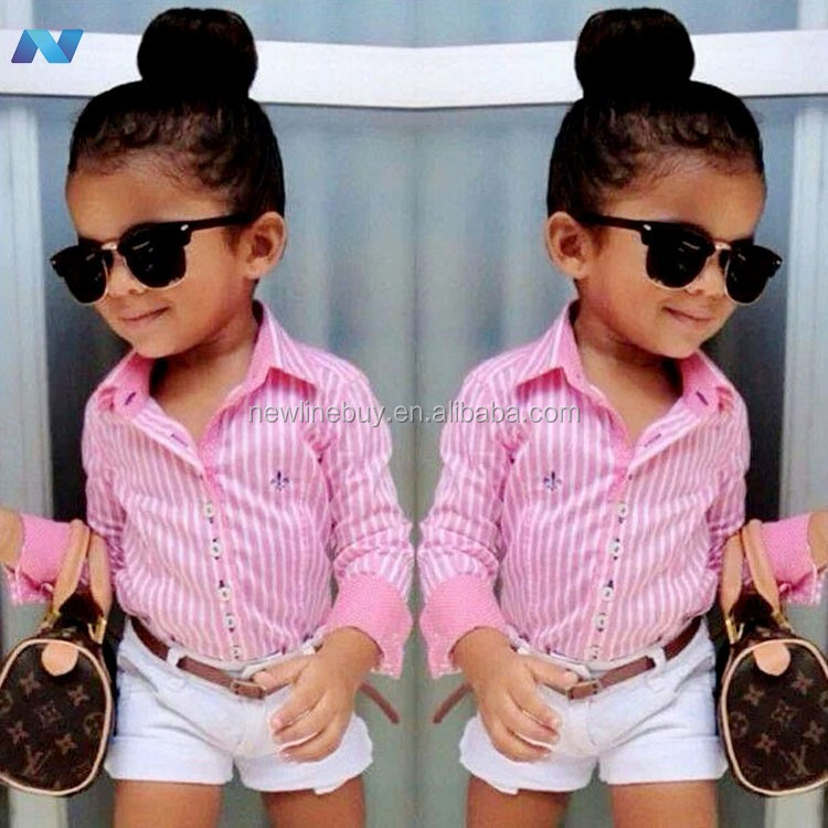 New Baby Kids Girl's Two-piece Cute Stripe Shirt and Solid Shorts Outfits Set
