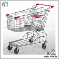 wheeled metal shopping trolley for supermarket
