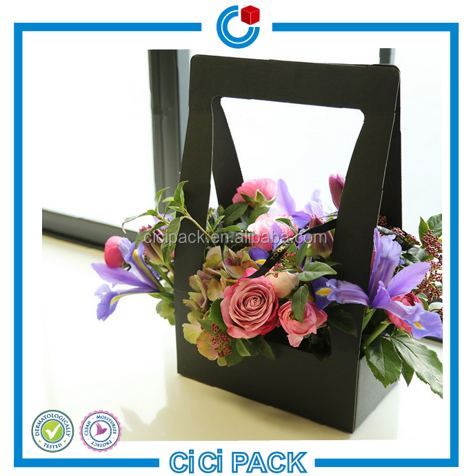 Most popular styles black printing flower's wrapping custom paper container for plant
