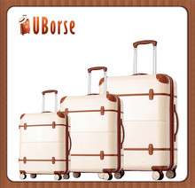 ABS+PC Plastic Hard Shell Trolley Suitcase Luggage Set With TSA Lock and Aluminium Trolley