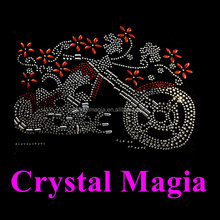 2016 custom rhinestone iron on motorcycle girl bike cool hot fix crystal strass