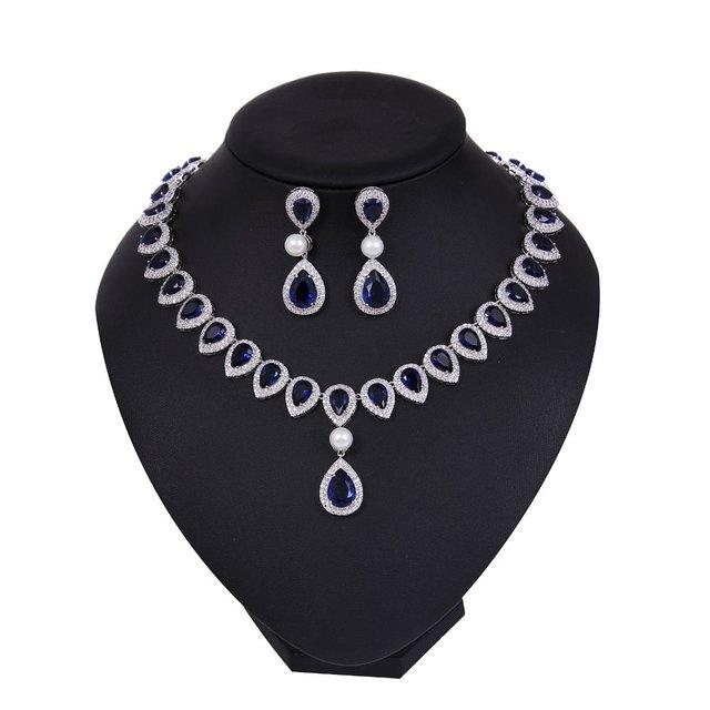 wedding jewelry set Cubic zirconia Bridal pearl necklace set