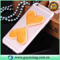 2016 new popular glitter heart design bling quicksand style liquid phone cover for iphone 5s tpu mobile cover case