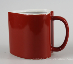 12oz Red And White Two Tone Color Heart-Shaped Ceramic Porcelain Coffee Tea Mug Cup Set, Ceramic Heart Mug