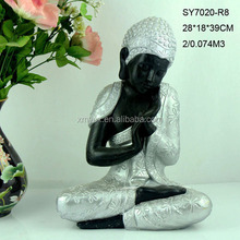 Silver sleeping religious sculpture praying buddha statue