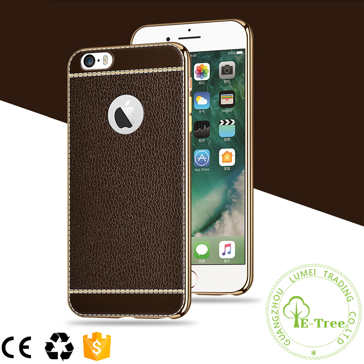Luxury Litchi Pattern Golden Electroplating Frame TPU Shockproof Bumper Case For iPhone 7