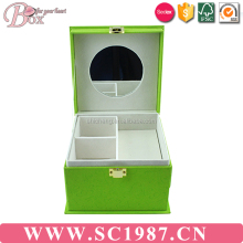 Pure and fresh green jewelry box with mirror and with drawer