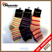 women's colorful rabbit hair socks with stripe