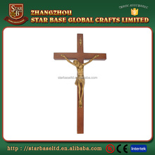 Custom made wall hanging wooden religious cross with metal Jesus