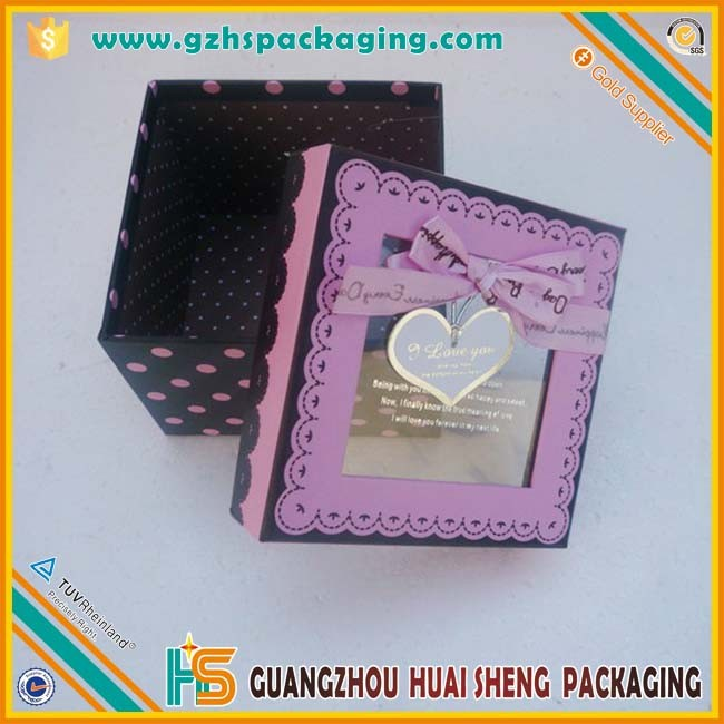 square display cardboard gift boxes with clear lid