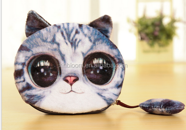 2017yiwu new lovely 3D solid animal meow star cat husky dog panda owl face plush small money change handbag wallet with tail