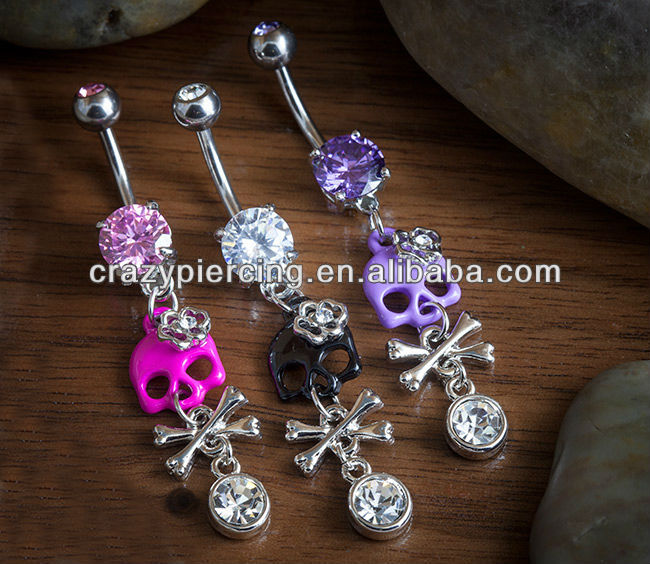 expandable skull and crossbone dangle crystal mixed navel ring cz belly button piercing steel body jewelry