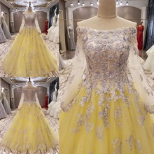 LS9095 yellow strapless with appliques lacechaozhou long sleeve kaftan elegant evening dresses