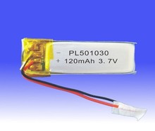 Polymer Lithium Ion Battery for Bluetooth/GPS Tracking Unit 3.7V 120mAh (501030) Rechargeable