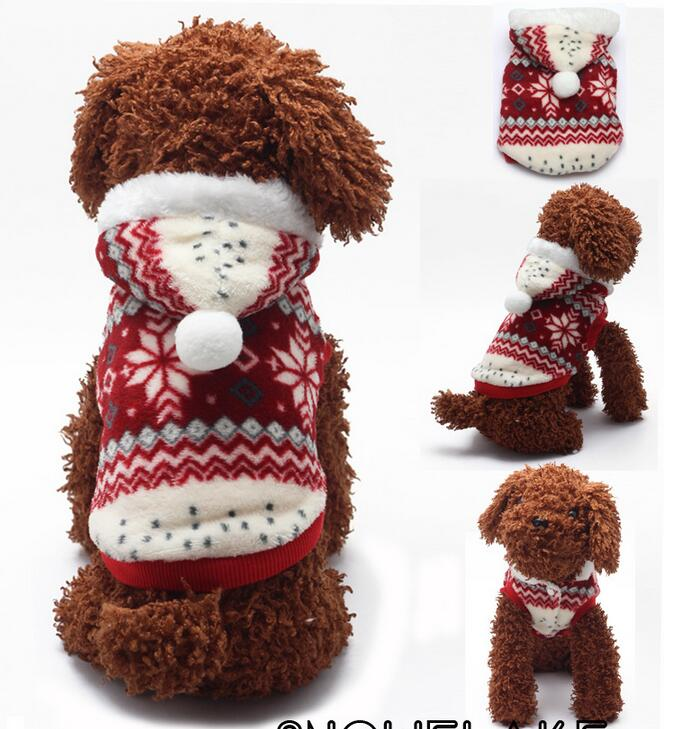 DM 800 Cute Pet Clothes Decoration Christmas Cotton Hood Hoodie Snowflake Dog Pajamas