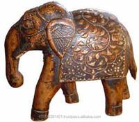 INDIAN WOODEN DECORATIVE FIGURE FINE ART HOME DECOR ELEPHANT FIGURE /COLLECTIBLE