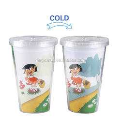 temperature sensitive double wall plastic tumbler cups for gift