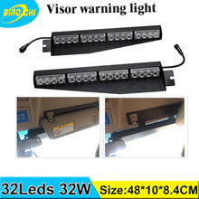 Factory direct sale high power LED 32W 17 flash patterns visor emergency warning light for all cars