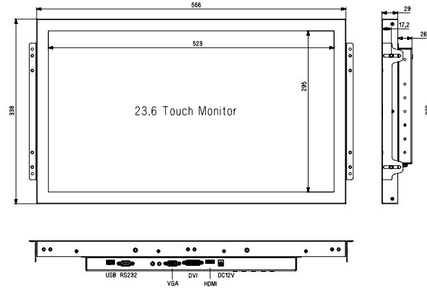 "23.6""Open frame touch screen Lcd touch monitor 15""/15.6""/17""/18.5""/19""/21.5""/22""/23.6""/26"""