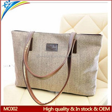 Manufacturer promotion fashion tote canvas shopping grocery bag heavy duty solid versatile handbag for women
