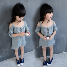 Summer High Quality Fashion Kids Casual Pretty Strapless Grey Dresses