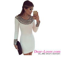 Fashion Sexy Round Neck Long Sleeve Bodycon Bling Bling Studded Cocktail Dress
