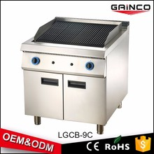 commercial restaurant kitchen equipment gas cooker combination oven lava rock grill with cabinet LGCB-9C