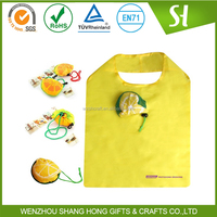 190T polyester folding shopping bag/fruit shape folding reusable bags for shopper