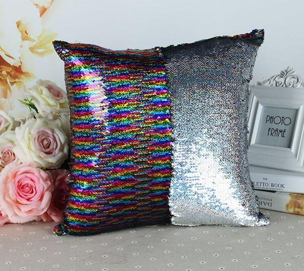 Rainbow mermaid sequin pillow, Two Color Changing pillow, , reversible sequin cushion cover