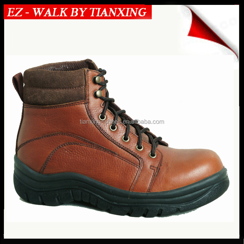 PU INJECTION TUMBLED LEATHER SAFETY SHOES WITH STEEL TOE