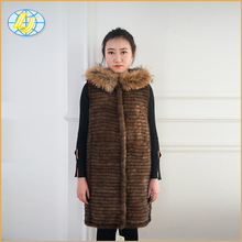 Luxury winter latest design long real natural mink fur knit coat with with fox fur hooded for women