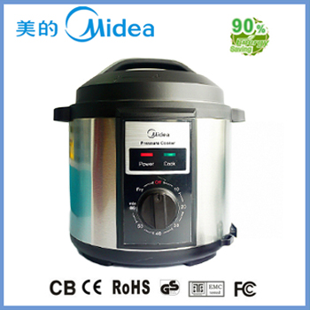 Black electric pressure cooker with spin button
