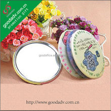 Custom made mini novelty Advertising gifts tinplate pocket mirror
