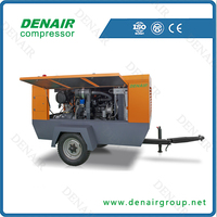 high pressure 7 bar 100 psi diesel mobile screw air compressor
