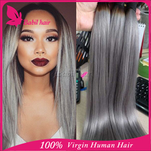 Babilhair accept customized order no shedding no tangle human hair 100% brazilian gray hair free weave hair packs