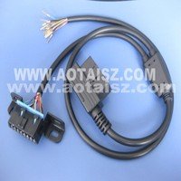 J1962 OBD 16 pin OBDII splitter cable Right angle F to M and open cable