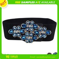 Wholesale belt with colorful handmade crystal buckle waist elastic belt for women dress