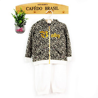 2016 spring kids outdoors leopard printed clothes set