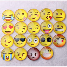 High quality fridge deco crystal glass emoji magnet sticker / Cartoon Cute Emoji Pattern Dome Glass Fridge Magnet
