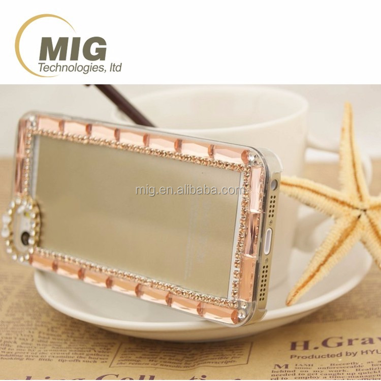For samsung note 2 3 4 5 transparent PC clear crystal phone case with diamond around For iphone 6 Cell phone case