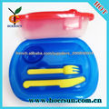 Oblong plastic bento box plastic lunch box with fork