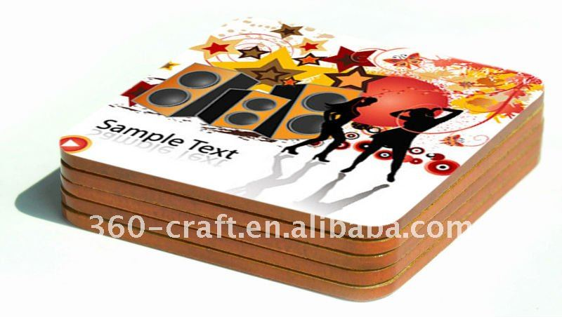 matte lamination cork backing mdf coaster