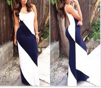 Bestdress C57458S Sexy fashion design color splicing lady maxi dress