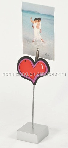 Heart-shaped decorative memo clip plastic square resin silver base,name card clip holder, photo holder